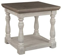 Signature Design by Ashley – Havalance Farmhouse End Table, Whitewash/Brown Wood
