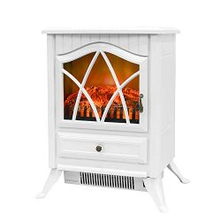Bathonly Electric Fireplace 1500W Free Standing Fireplace Heater, 2 Heat Modes Plastic Frame& ...