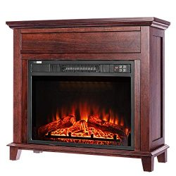 VIVOHOME 32 Inch Wide Electric Fireplace with Wood Frame, Insert Freestanding Portable Heater St ...