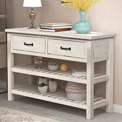 P PURLOVE Console Table Sofa Table with Drawers Console Tables for Entryway with Drawers and 2 T ...