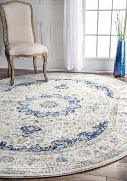 nuLOOM Verona Vintage Persian Rug, 6′ 7″ x 9′ Oval, Blue
