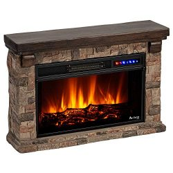 e-Flame USA Telluride LED Electric Fireplace Stove with Faux Wood and Stone Mantel – Remot ...