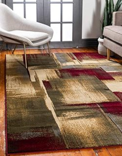 Unique Loom Barista Collection Modern Abstract Gradient Multi Area Rug (4′ 0 x 6′ 0)