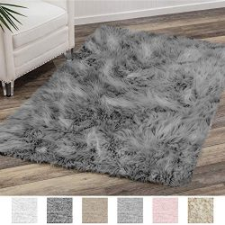 Gorilla Grip Original Premium Faux Fur Area Rug, 6 FT x 9 FT, Softest, Luxurious Carpet Rugs for ...
