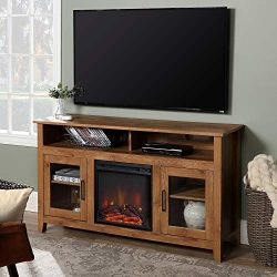 WE Furniture Tall Rustic Wood Fireplace Stand for TV's up to 64″ Living Room Storage ...