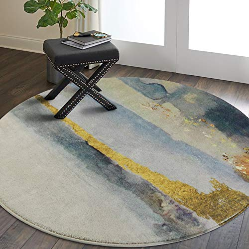 Lahome Modern Abstract Area Rug – 4′ Diameter Faux Wool Non-Slip Area Rug Accent Dis ...