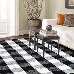 Homcomoda Area Rug Cotton Plaid Checkered Rugs 35 x 59 Inch Hand Made Braided Floor Mats Runner  ...