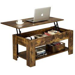 Yaheetech Rustic Lift Top Coffee Table w/Hidden Compartment & Storage Space – Lift Tab ...
