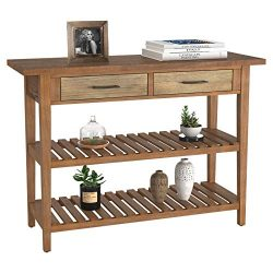HOMECHO Rustic Console Sofa Table, Accent Entryway/Hallway Table with Drawers and Storage Shelve ...