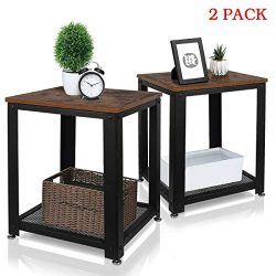 Night Stand Side Table – 2 Tiers Coffee Sofa End Tables with Storage Shelf – Rustic  ...