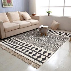 USTIDE Black & Cream Living Room Rug, Retro Farmhouse Shag Rag Rug Large Natural Cotton Acce ...