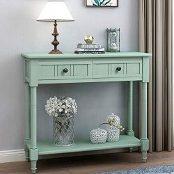 P PURLOVE Console Table Antique Style Wooden Sofa Table with 2 Drawers and Bottom Shelf (Retro Blue)