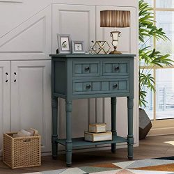 Narrow Console Table, Baysitone Sofa Table with 3 Storage Drawers and Bottom Shelf for Entryway, ...