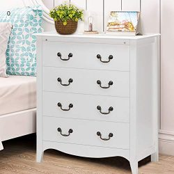 "WATERJOY 4-Drawer Chest Dresser Storage Cabinet, Bedroom Nightstand End Side Dress (33.5""L ..."
