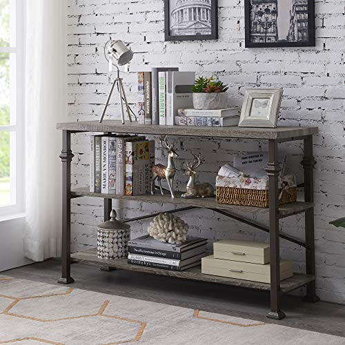 Hombazaar 3 Tier Industrial Rustic Sofa Table, Rectangular Console Hall Entry Table with Storage ...