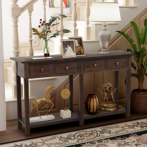 Retro Console Table Sofa Table for Entryway with Drawers and Shelf Living Room Sideboard (Espresso)