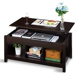Lift Top Coffee Table Dining Table for Living Home, Display with Hidden Storage Compartment & ...