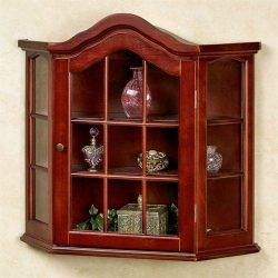 Aubrie Wooden Wall Curio Cabinet Classic Cherry One Size