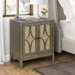 Pulaski Avery Modern Glam Two-Door Chest-Aged Platinum Accents, Silver