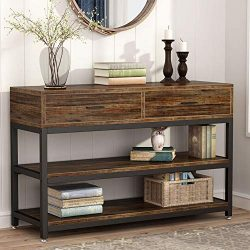 Tribesigns Rustic Console Sofa Table with Drawers, Industrial TV Stand 2 Shelf Hallway Entryway  ...