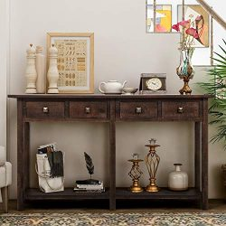 Rustic Brushed Texture Entryway Table with Storage Drawers, WeYoung Console Table with Drawers a ...