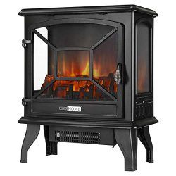 VIVOHOME 23 Inch 1400W Portable Free Standing Electric Fireplace Stove Heater with Realistic Log ...