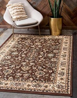 Unique Loom Kashan Collection Traditional Floral Overall Pattern with Border Brown Area Rug (9&# ...