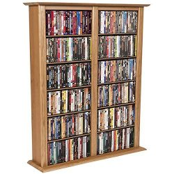 Media Storage Tower-Regular Double Oak