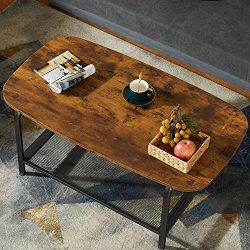 KICODE Coffee Table, Round Coffee Table with Storage Shelf, Industrial Cocktail Table for Living ...