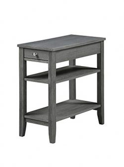 Convenience Concepts American Heritage Three Tier Drawer End Table, Dark Gray Wirebrush