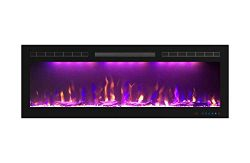 Mystflame 50 inch Electric Fireplace – Ultra Slim Frame – in Wall Recessed & Wal ...