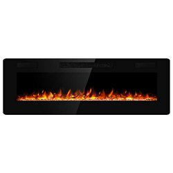 JAMFLY Electric Fireplace Wall Mounted 60 Inch Insert 3.86 Inch Super Thin Electric Fireplace Re ...