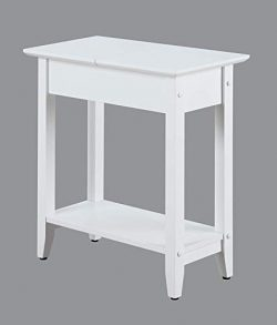 Convenience Concepts American Heritage Flip Top End Table, White Finish