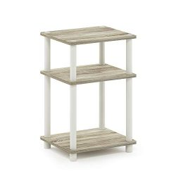 FURINNO Just 3-Tier End Table, 1-Pack, Sonoma Oak/White