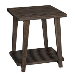 VASAGLE Bamboo Side Table, 2-Tier End Table with Cell Phone Slots, Nightstand with Holes for USB ...