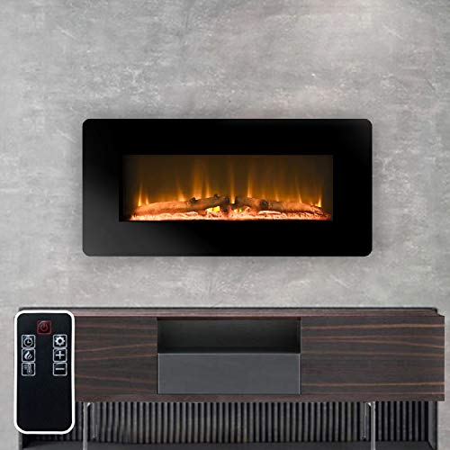 LOKATSE HOME 36″ Wall Mounted Electric Fireplace Insert with Remote Control 3 Levels of Re ...