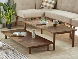 Furnitela Solid Wood Coffee Table, 47″ Rustic Coffee Tables for Living Room, Easy Assembly ...