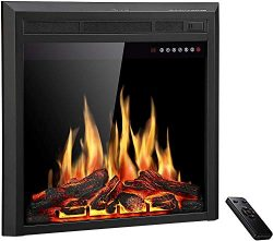 R.W.FLAME 26″ Electric Fireplace Insert,Freestanding & Recessed Electric Stove Heater, ...