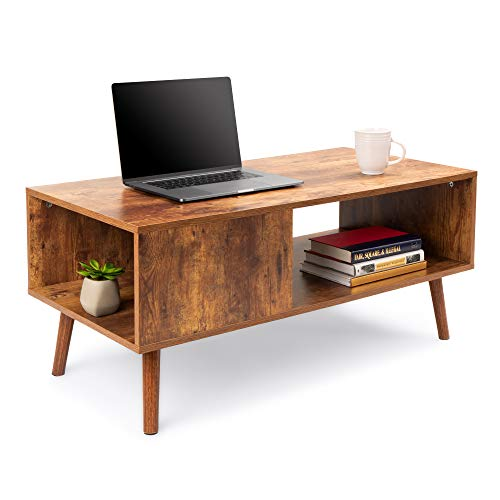 Best Choice Products Wooden Mid-Century Modern Retro Coffee Accent Table, Indoor Furniture for L ...