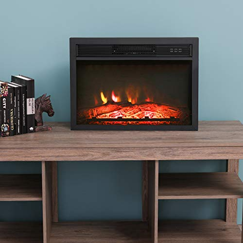 LOKATSE HOME 23 Inches Electric Fireplace Insert Heater Log with Realistic Flame Remote Control, ...