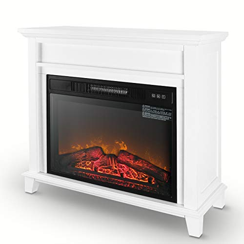 Della 32″ inch Electric Heater Fireplace for Your Home, with 3 Flame Settings Low/Medium/H ...