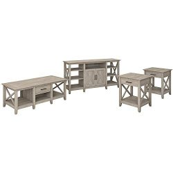 Bush Furniture Key West Tall TV Stand with Coffee Set of 2 End Tables, Washed Gray