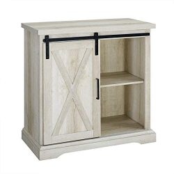 Pemberly Row 32″ Farmhouse Sliding Barn Door Wood Accent Chest Buffet Storage Cabinet in W ...