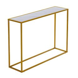 Byya Console Table Metal Porch Table with Wooden Top,Entrance Console Table, Corridor Hallway So ...