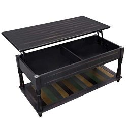 VASAGLE Lift-Top Coffee Table with Turned Real Wood Legs and Lower Shelf, 2 Hidden Storage Compa ...