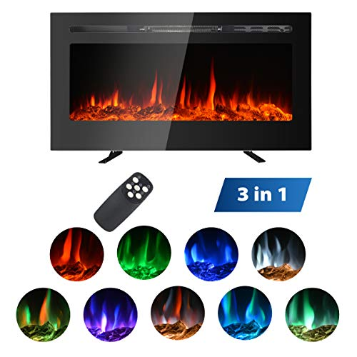 MAXXPRIME 36″ Electric Fireplace Insert, Wall Mount, Freestanding & in Wall Recessed F ...