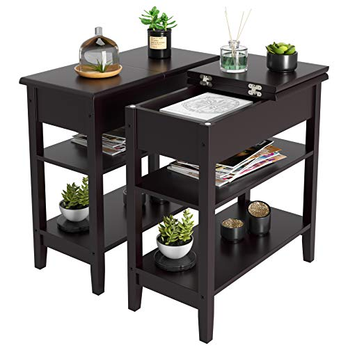 HOMECHO End Side Table with Double Shelves Wood Flip Top Sofa Table Compact Nightstand with Stor ...
