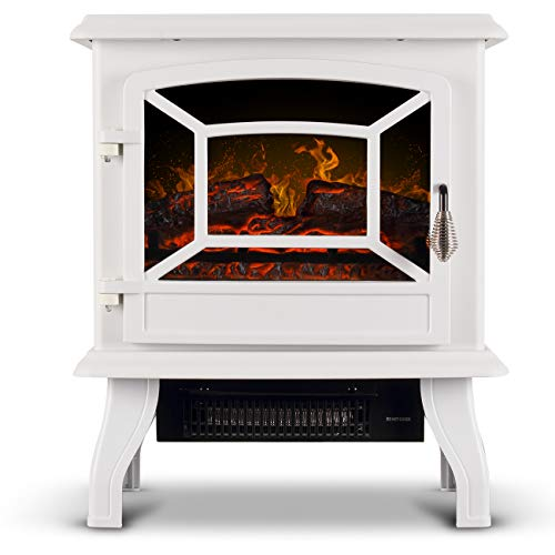 Della Freestanding 3D Infrared Electric Fireplace Stove (White) 17 Inch Portable Indoor Space He ...