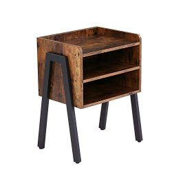 HOOBRO End Table, Stackable Nightstand, 3 Tier Side Table for Small Spaces with 2 Open Front Sto ...