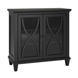 Modern Transitional Wooden Display Media Cabinet with Curved X Design Over Glass Doors and 3 She ...